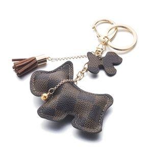 Accessories - Brown Leather dog keychain